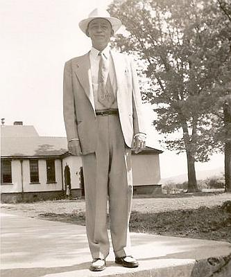 Cecil Fain in the 1940s in front of Rison School