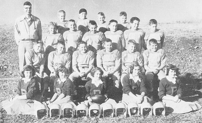 1952 or 1953 PeeWee Football Team and Cheerleaders