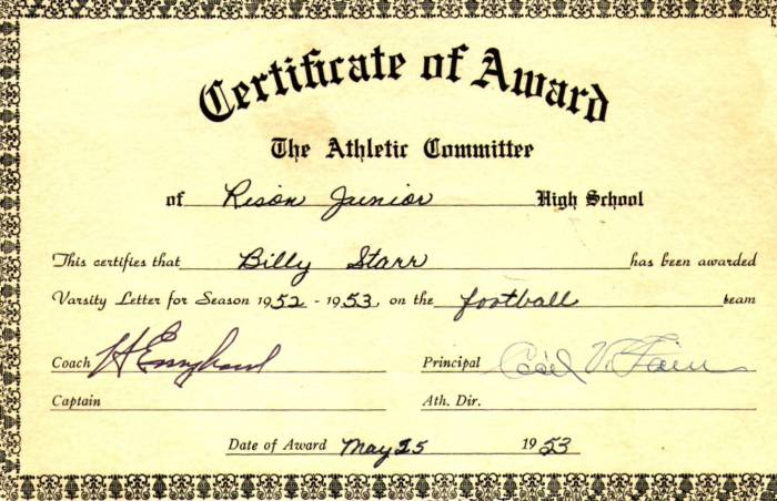 Billy Starr's Certificate of Award 1952 - 1953