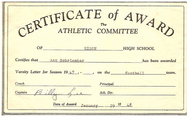 Rison dallas community sports programs page certificate of award ann schrimsher yelopaper Image collections