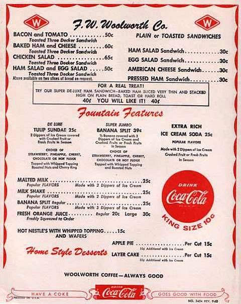 Woolworth's Menu